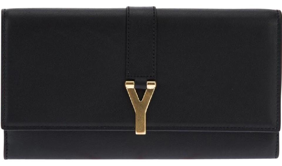 2a5ee51263fcc Saint Laurent Yves Saint Laurent  Y Line  Large Black Leather Flap Wallet  Image 0 ...