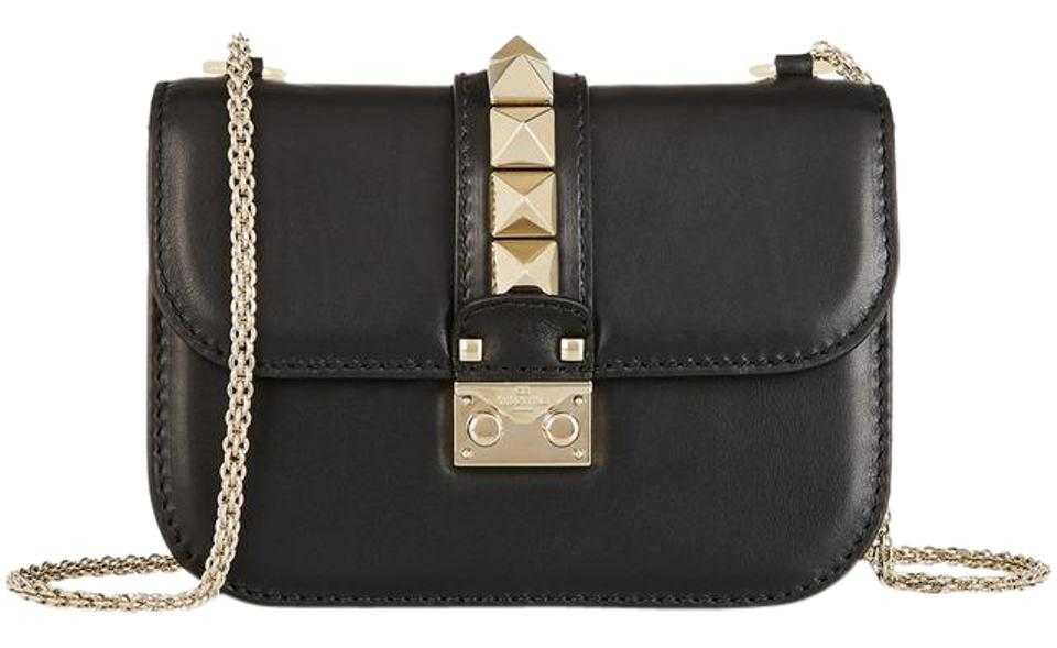 3c72bdd4d0cf Valentino Garavani Small Chain Black Leather Cross Body Bag - Tradesy