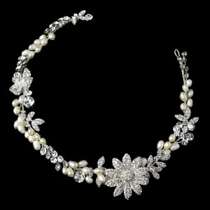 Elegance by Carbonneau Ivory Freshwater Pearl Clear Rhinestone Headpiece Clip 1060 Hair Accessory