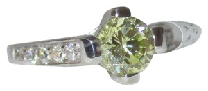 rlss 925 Sterling Silver 5mm Round Peridot Ring White Topaz Accents