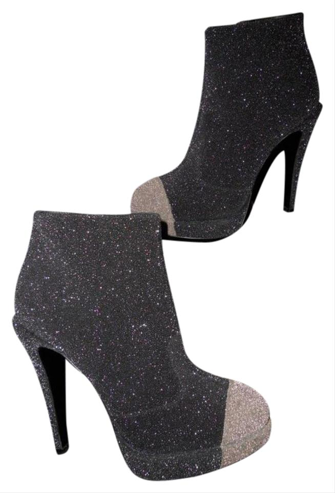 004af53f4e4 Chanel Black Grey Glitter Leather Cap Toe Two Tone Platform Heels Boots  Booties