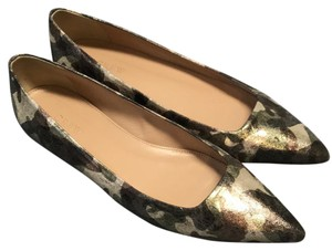 J.Crew Camo Leather Pointed Toe gold, green camouflage Flats