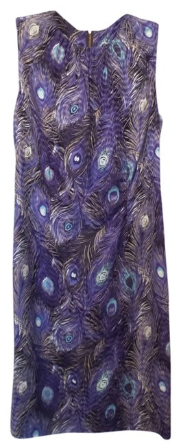 Item - Purple Blue Black Silk Peacock Print Knee Length Sheath Or S Mid-length Night Out Dress Size 6 (S)