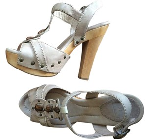 Frye Chunky Leather Taupe Sandals