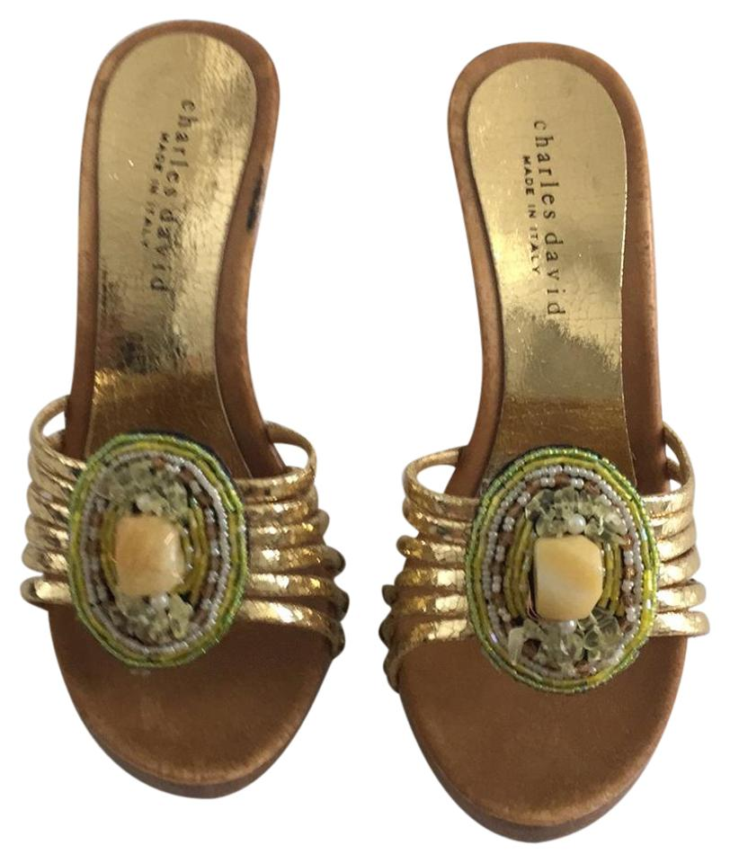 woman Charles David Gold great Ornamented Mules/Slides a great Gold variety 4c40fb
