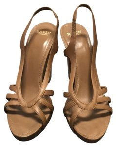 Bally Leather Wooden Platform Gold Nude Tan Sandals