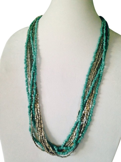Kenneth Cole Silver/Turquoise Silver-tone Mixed Bead Multi-row Long Necklace Kenneth Cole Silver/Turquoise Silver-tone Mixed Bead Multi-row Long Necklace Image 1