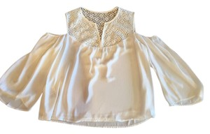 BCBGMAXAZRIA Cold Bcbg Flowy Lace Top White