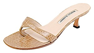 Manolo Blahnik Alligator Kitten Heel Camel Sandals