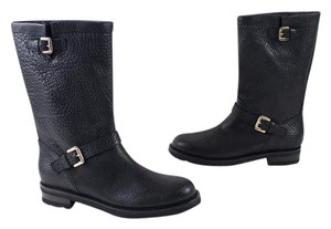 Anyi Lu Leather Moto Italy Black Boots