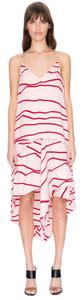 C/meo Collective Drape Asymmetric Stripe Modern Skirt Red Pink