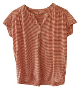 Ann Taylor LOFT Top orange and white strip