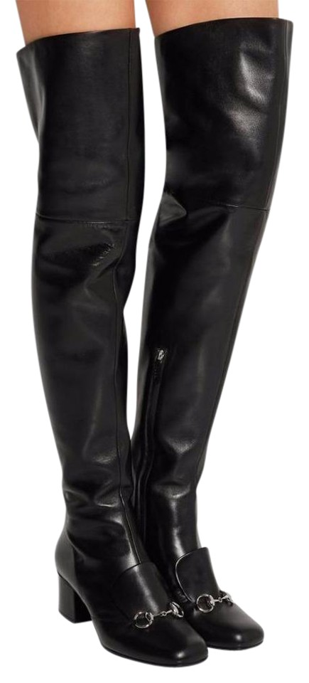 83e06a5ac96c52 Gucci Black Horsebit Lillian Leather Over The Knee Thigh High Heels 38.5  Boots Booties