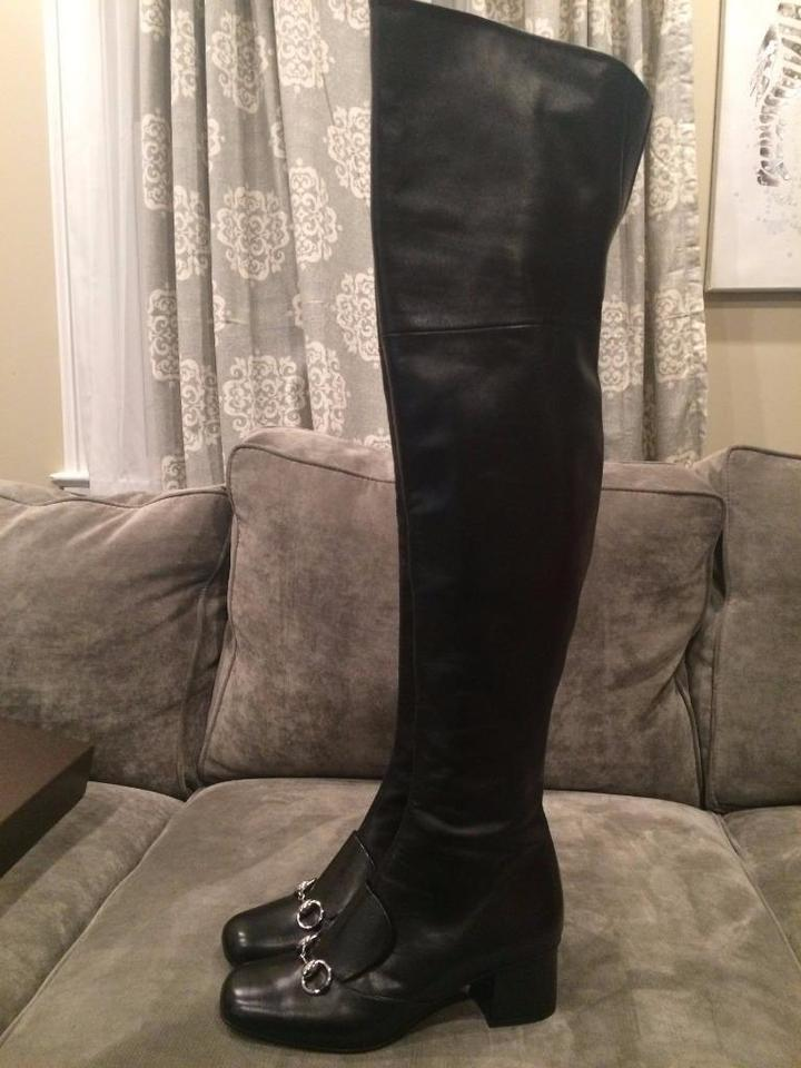 3659539b1 Gucci Lillian Horsebit Over The Knee Thigh High Black Boots Image 11.  123456789101112