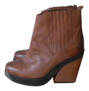 Anthropologie Platform Leather Free People Chunky Heel Brown Boots
