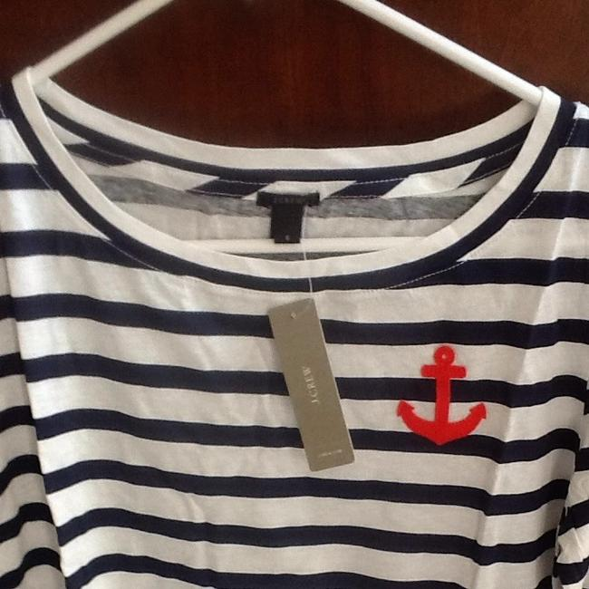 J.Crew T Shirt White With Navy Blue Stripe