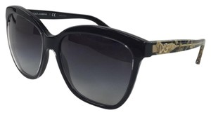 Dolce&Gabbana New DG 4251 2917/8G Cateye Black Gold Plastic Style Sunglasses 140mm