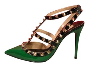 Valentino New 2 Straps Green Black Pumps
