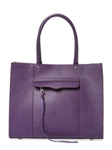 Rebecca Minkoff Leather Silver Hardware Roomy Carryall Structured Tote in Deep Purple