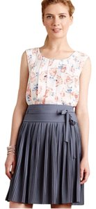 Anthropologie Floral Open Back Pleated Silky Top White, Red