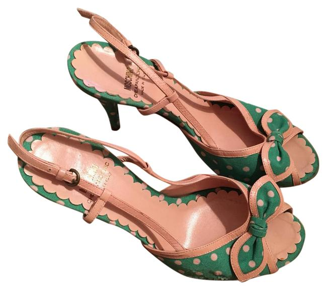 Item - Green and Light Pink Polkadot Heeled Sandals Pumps Size US 7.5 Regular (M, B)