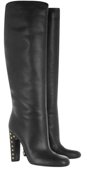 Gucci Black Leather Studded Heels Knee High Tall Pull On Boots/Booties Size EU 37.5 (Approx. US 7.5) Regular (M, B) Gucci Black Leather Studded Heels Knee High Tall Pull On Boots/Booties Size EU 37.5 (Approx. US 7.5) Regular (M, B) Image 1