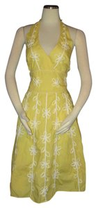 Lilly Pulitzer short dress Yellow Halter Size 12 Floral on Tradesy
