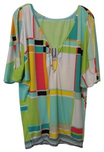 Trina Turk short dress White, green, yellow, red, black + Tunic Cover Up Mod Like New on Tradesy