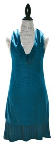 Free People short dress Aqua, Teal, Blue, Cowl Neck Dress, Pleated Hemline Sleeveless on Tradesy