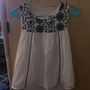 Forever 21 Embroidered Top Black and White