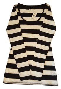 Express Long Sleeve Stripes Lace T Shirt Black