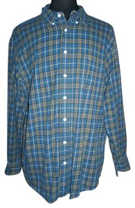 Old Navy Longsleeve Flannel Blue/yellow Plaids/checks Button Down Shirt multi-color
