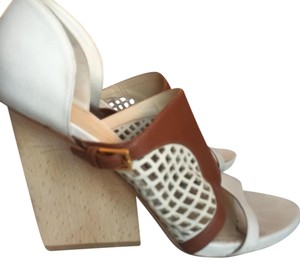 Maiyet cream, tan, gold hardware, blond colored wood Wedges