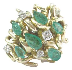 Other Fine Gem Green Emerald Diamond Cluster Yellow Gold Ring 14KT 1.43Ct