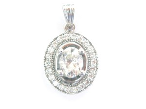 Other 18Kt Oval Diamond White Gold Jewelry Pendant .87CT