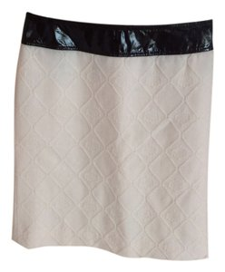 Tory Burch Skirt Ivory with chocolate patent leather waist band
