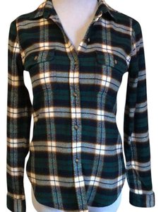 American Eagle Outfitters Button Down Shirt Green plaid
