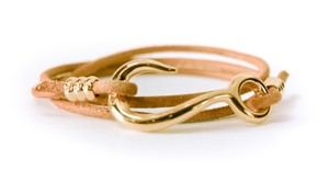 Giles & Brother Hook Wrap Brass and Leather bracelet