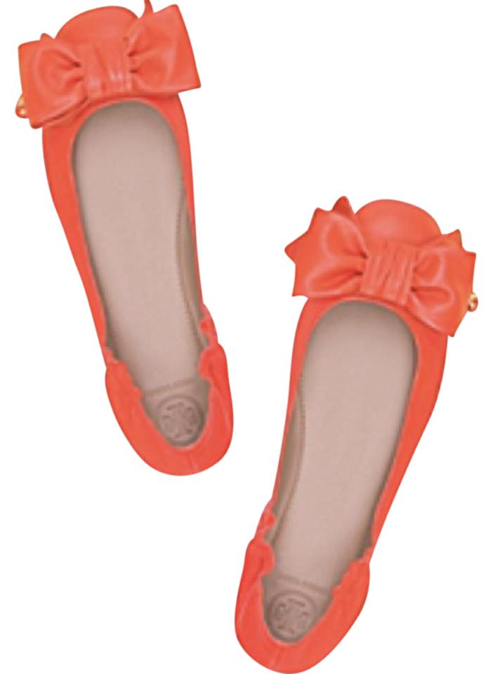 4ac04b45d3c Tory Burch Orange Divine Bow Driver Ballet  Nappa Leather Flats Size ...
