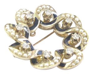 Other Fine Vintage Seed Pearls & Blue Enamel Diamond YG Pin / Brooch 1 1/4
