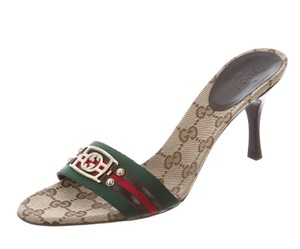 Gucci Hardware Embellished Gg Horsebit Gold, Beige, Brown Sandals