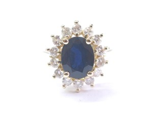 Other Fine Gem Sapphire Diamond YG Solitaire W Accent Anniversary Ring 14KT