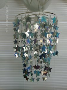 Holographic Silver Chandolier with Stars Reception Decoration