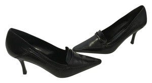 Nine West Style NEW Black leather stack wood heels padded insoles attractive topstitching pointed business Pumps
