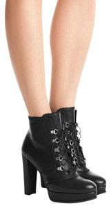 Stuart Weitzman Leather Silver Hardware Black Boots