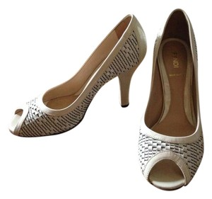Fendi Peeptoe Woven Leather Textured Two Tone White Pumps
