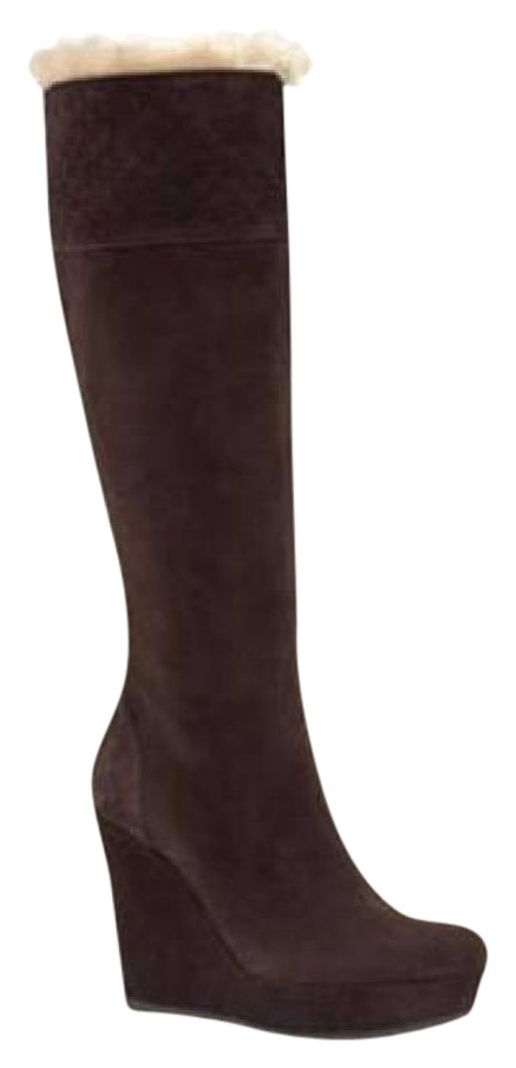 905b7a24984 Gucci Brown Courtney Shearling Fur Suede Gg Guccissima Wedge Heel Knee High  Boots Booties. Size  EU ...