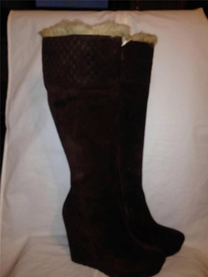 c9f5715cb69 Gucci Knee High Courtney Shearling Wedge Guccissima Brown Boots Image 11.  123456789101112