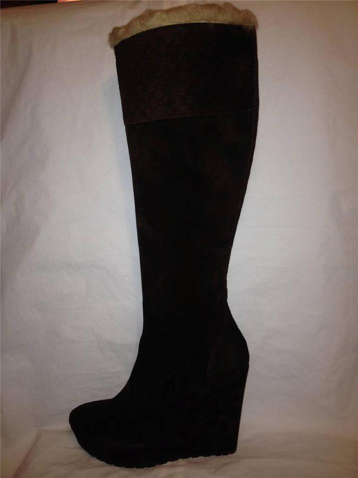 08df1c9cb15 Gucci Brown Courtney Shearling Fur Suede Gg Guccissima Wedge Heel Knee High  Boots Booties Size EU 38.5 (Approx. US 8.5) Regular (M