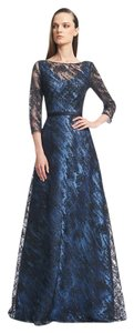 Theia V-neck Evening 3/4 Sleeve Gown Embroidered Dress